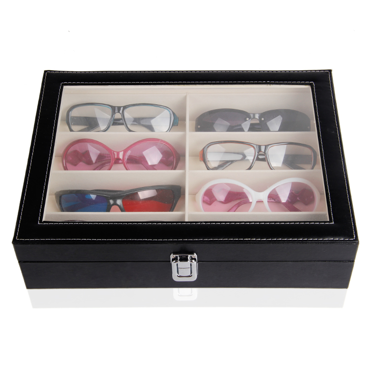 Wholesale 1pc Black Leatherette Glasses Sunglass Display Case Box Tray Stand Holder 8 Compartments With Clear Acrylic Lid acrylic sunglass glass rack optical display frame glasses stand holder organizer clear