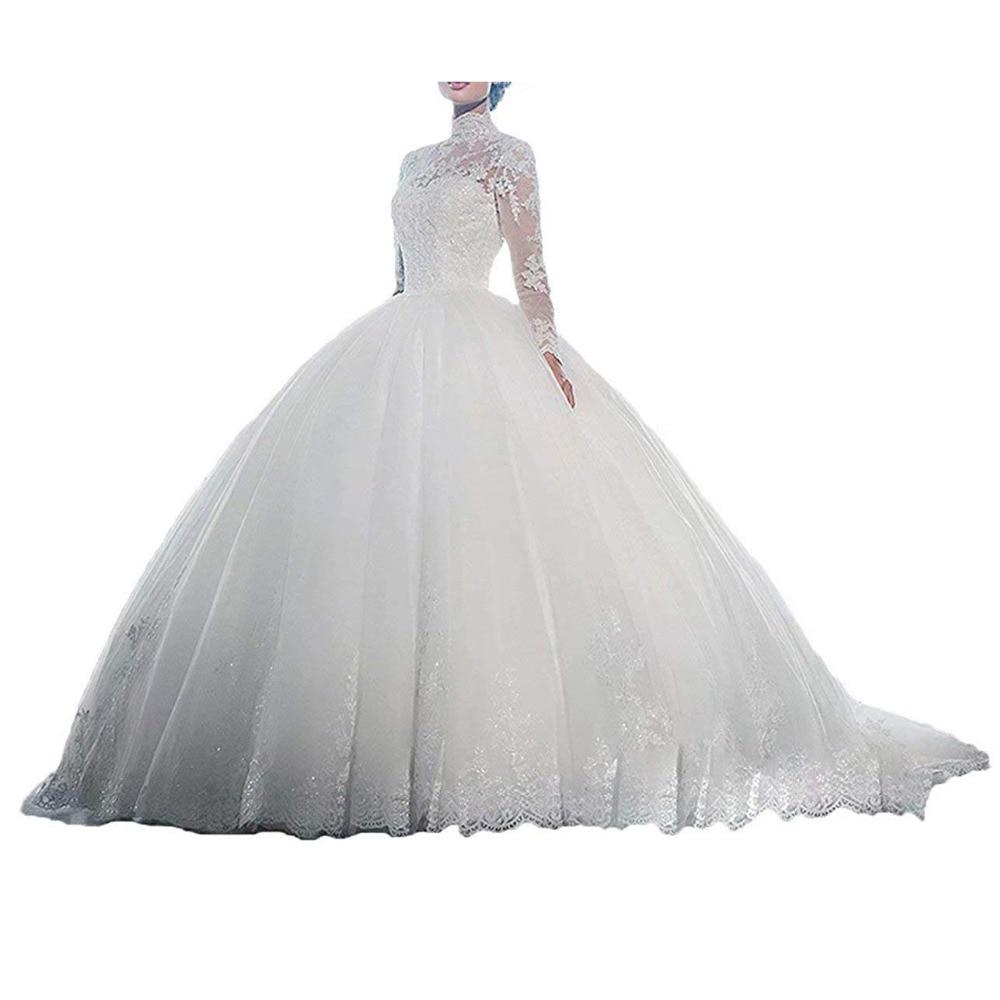 Women's Ball Gown Luxury Wedding Dresses Lace Long Sleeves Wedding Dress vestido de noiva 2018 white Illusion Wedding Gown
