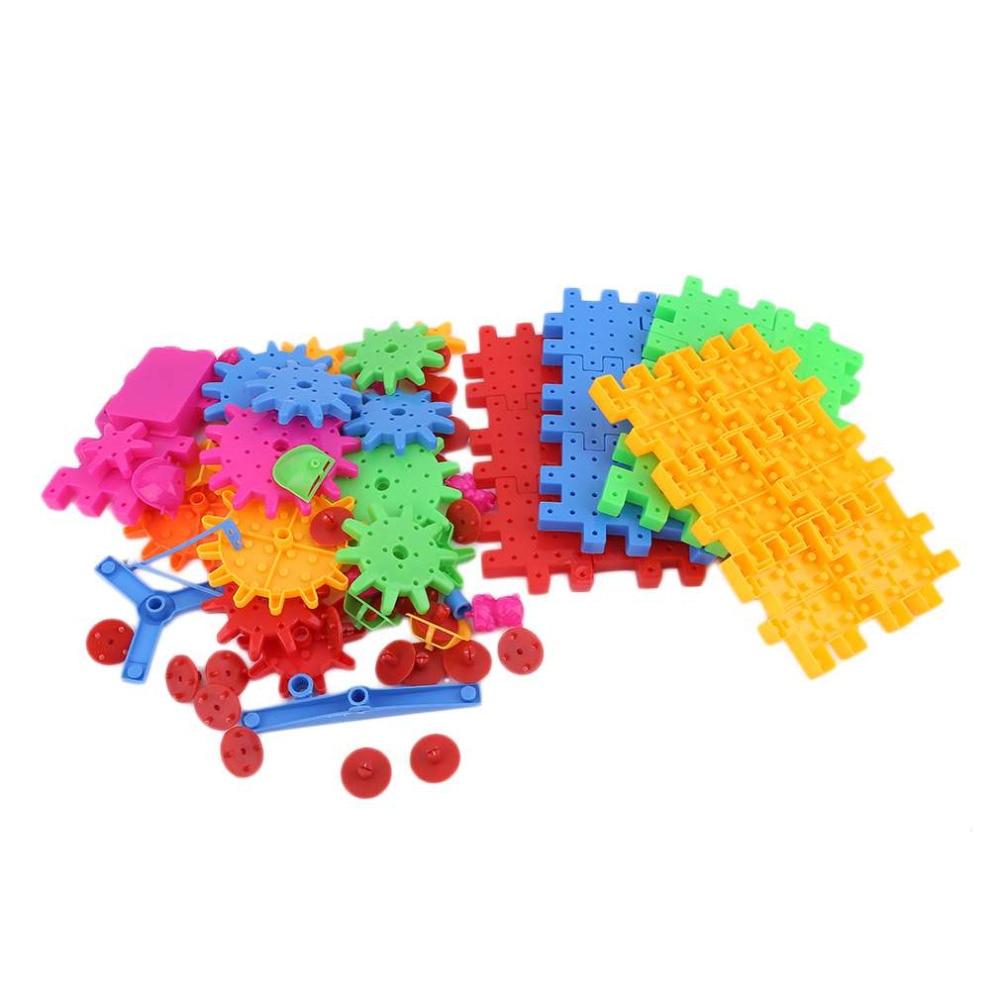 Hot! Educational 81 Pieces Electric Magic Gears Building Blocks 3D DIY Plastic Funny Toy Mosaic Toys For Children New Sale 12 pieces children puzzle toy building blocks