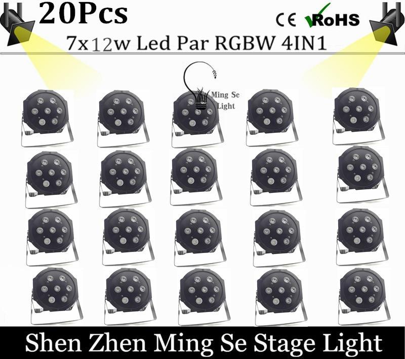 New Seller 20pcs /lots   7x12w led Par lights  RGBW 4in1 flat par led dmx512  disco lights professional stage dj equipment