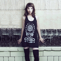 Rabbit Skull Antler Collage Racerback Black Punk Screen Print Moon Phase Tank Dresses