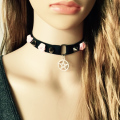 90's  Black the tensile elastic material Choker stainless steel necklace  women Gothic Handmade With Charm Gothic Emo For Women
