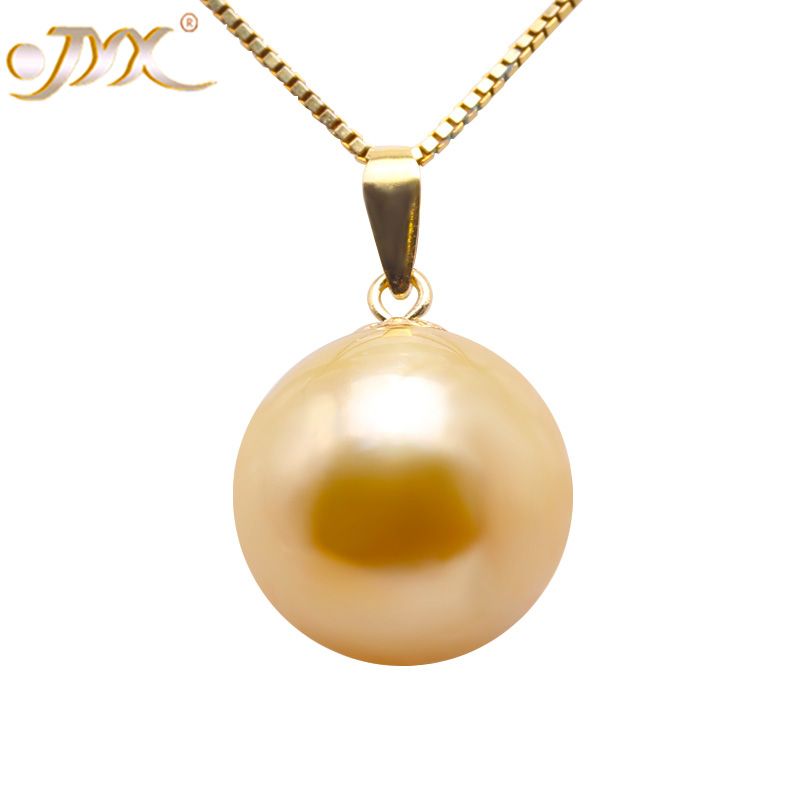 JYX 18K Gold 11.5mm Golden South Sea Pearl Pendant Necklace 18 bk 4371 18k alloy crystal artificial fancy color diamond pendant necklace golden 45cm