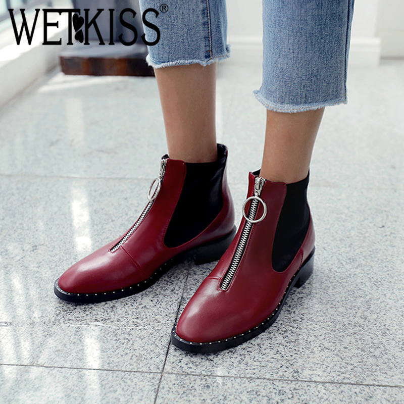 WETKISS Thick Low Heels Women Ankle Boots Lycra Round Toe Rivet Footwear Zip Pu Female Boot Shoes Women 2018 Black Plus Size 43