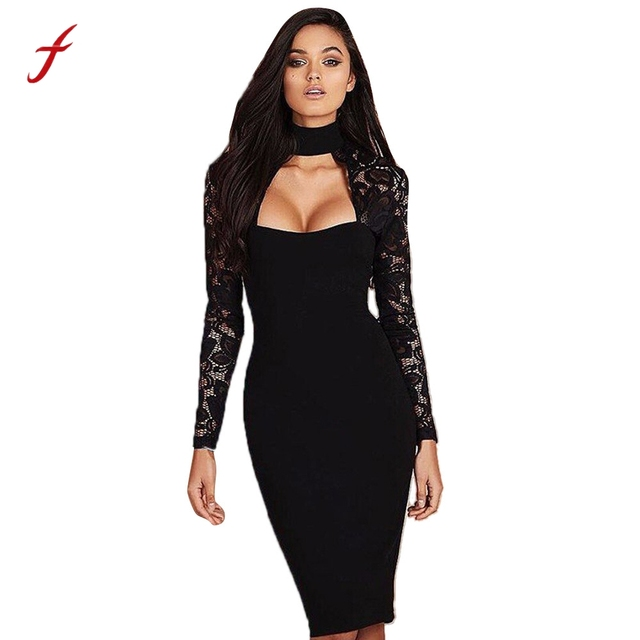 1958f67659 Feitong Womens Sexy Dress Lace Long Sleeve Open Chest Choker Dress Ladies  Cocktail Party Bodycon Knee Dress vestidos femininos