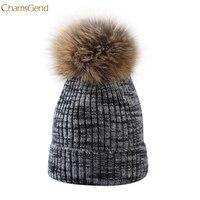ChamsGend 2017 Hot Sale Fur Ball Cap Winter Hat Women Girls Hat Knitted Beanies Cap Thick