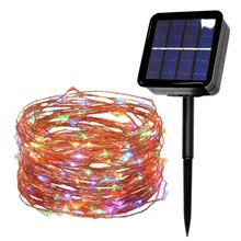 100/200/300 led solar LED Light Waterproof LED Copper Wire String Holi