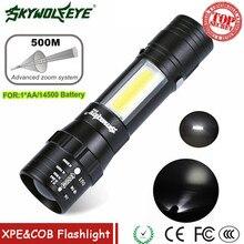 Mini el feneri Zoomable LED el feneri XPE Q5 meşale ışık COB LED Mini el feneri 14500/AA 4 modları cep feneri fener