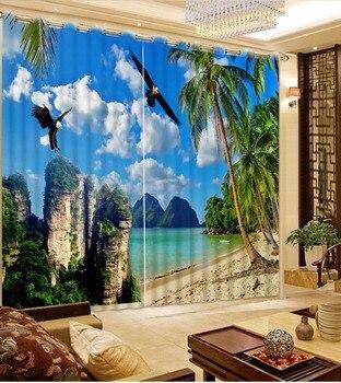 European and American Sheer Curtains Living Room Blackout beach landscape Curtains big sea blue sky 3D Curtains фото