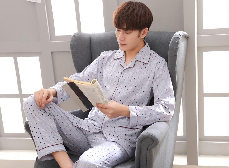 Sleeping-Cloths And Fashion Turn-Down-Collar Apricot Grey Polka-Dot Men New-Arrival