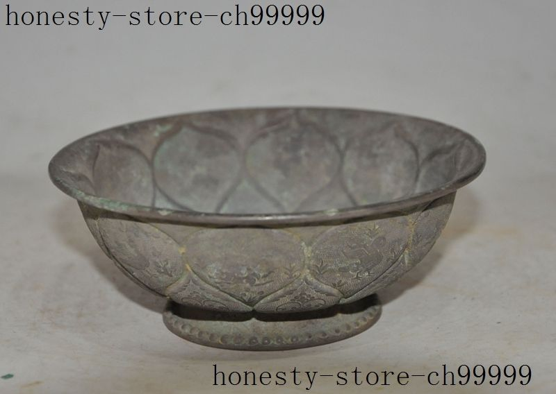 old chinese palace royal Antiques 100% pure silver carved lotus flower cup bowl