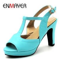 ENMAYER Korean Elegant Summer Sandals Pumps Shoes Woman High Heels Platform Shoe Peep Toe T Strap