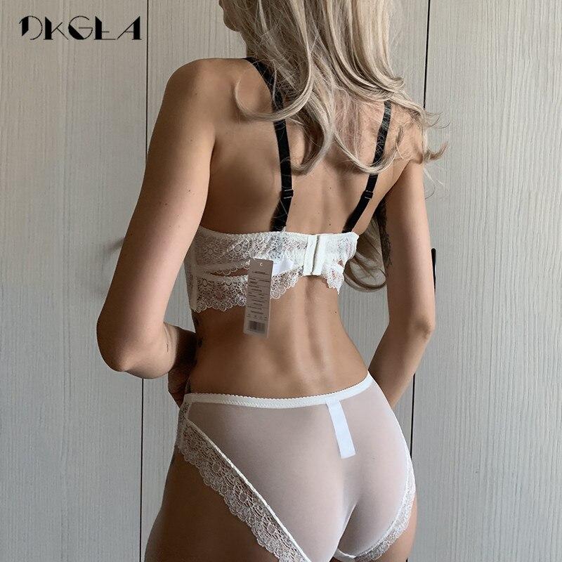 Image 2 - New White Sexy Bra Panties Set Lace Brassiere Deep V Push Up Bras Women Underwear Set Cotton Thick Black Lingerie Set Embroidery-in Bra & Brief Sets from Underwear & Sleepwears