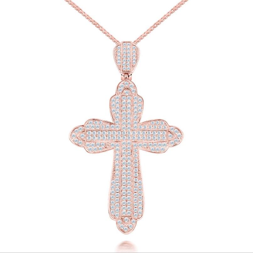 Stunning Freddo di Lusso Dei Monili di Gesù Croce Pendente 10KT White & Rose Gold Riempire Spianare AAA Cubic Zirconia Collana Del Partito Per Le delle donne Degli Uomini