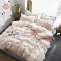 30S Pure Cotton summer spring bedding set lovely heart print pink blue duvet cover set fitted sheet type jogo de cama SP5200