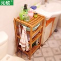Cheap bamboo bathroom shelf bathroom corner multilayer wood clapboard face Penjia small shelf floor rack