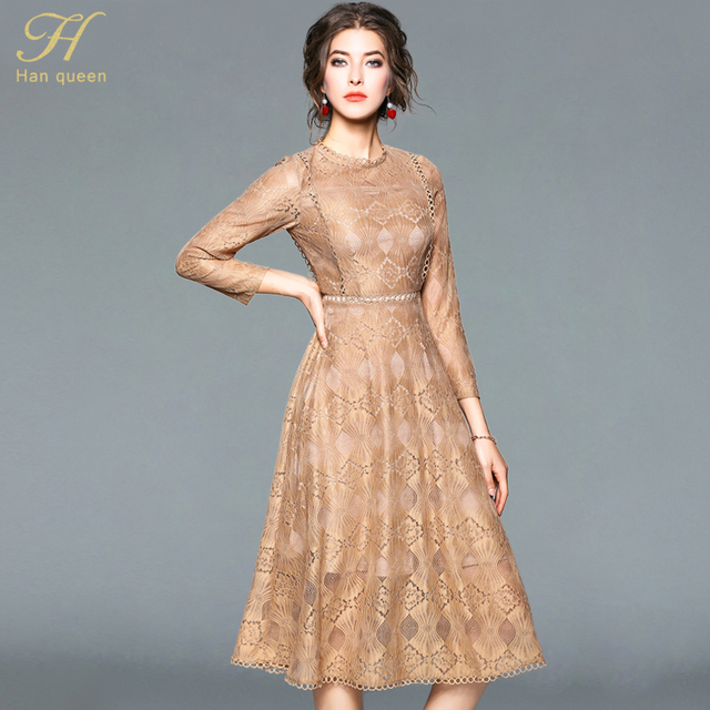 7b2e4cf9e22d0 US $20.53 21% OFF|H Han Queen 2018 Spring Summer Lace Dress Women Office  Party Long Sleeve O neck Sexy Hollow Out Casual Dress Ladies Vestidos-in ...