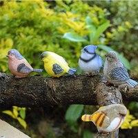 6ps/lot Garden Birds Playful Magpie Statue Outdoor Artificial Bird Resin Bird Garden Decor Home Decor Art