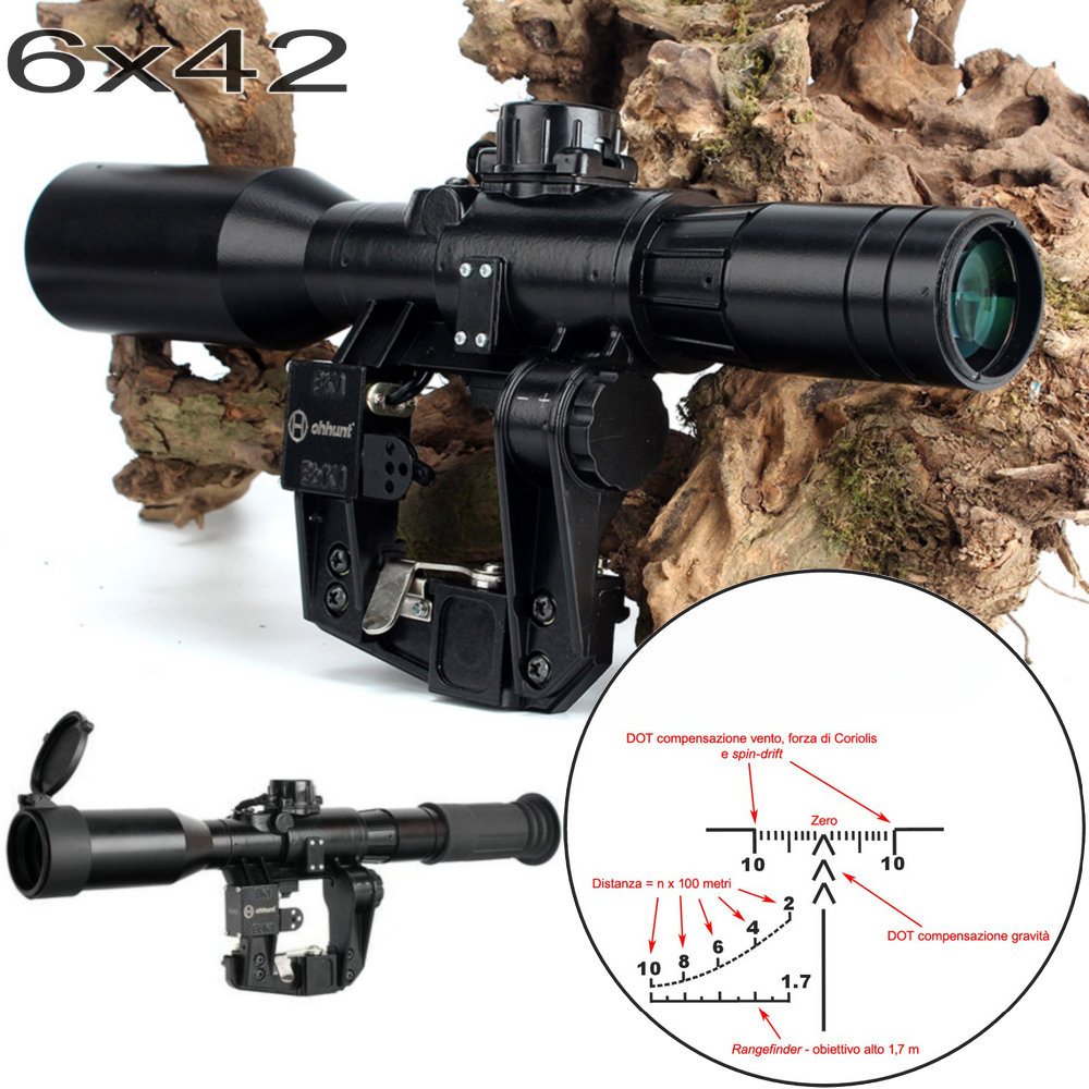 SVD 6X42D Hunting Riflescope Red Illuminated Glass Etched Reticle POS-1 Sight Tactical Scopees Mount Fits SKS Tigr Romak-3