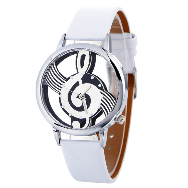 Lady Womans Wrist Watches simple casual Engraving Hollow stylish Musical Note Pa