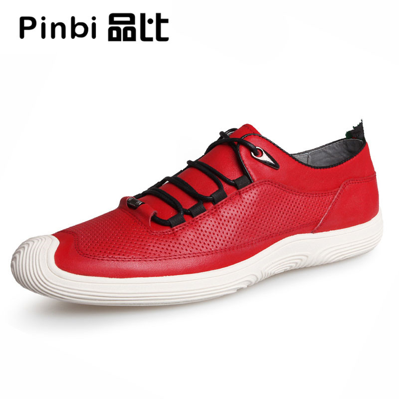 The summer men's leather breathable sneaker fashion boots men casual shoes,Leisure shoes breathable red white male cowhide 2017 new autumn winter british retro men shoes zipper leather breathable sneaker fashion boots men casual shoes handmade
