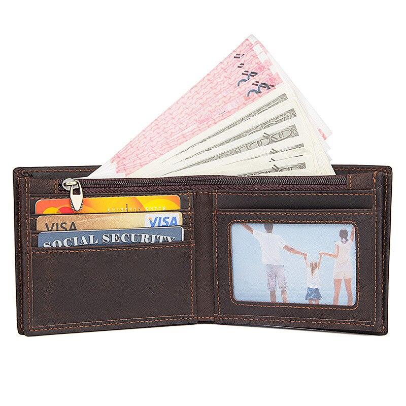 short men deep brown wallet genuine leather solid purse
