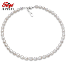 Genuine Freshwater Pearl Necklace 6-7mm Rice Shape White Choker Necklaces For Womens Fine Jewelry By FEIGE