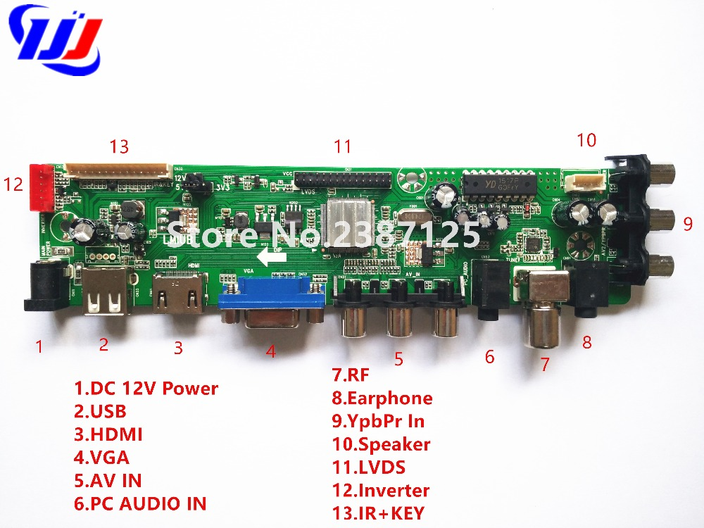 Z.VST.3463.A1 Support DVB-C DVB-T DVB-T2 instead of T.RT2957V07 Universal LCD TV Controller Driver Board with remote