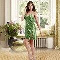 Green Satin Nightgown Embroidery Night Dress Silk Sleepwear Nightwear for Women