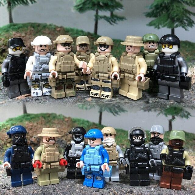 16 Buah/Banyak Blok Bangunan Tentara Angkatan Laut Udara dengan Pistol Kekuatan Angka Bata DIY Mainan Merek Yang Kompatibel Angka Tentara Militer Hadiah
