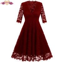 תחרה חדשה קיץ נשים שמלת וינטג 'רוקבילי רטרו פרחוני הסרוגה V צוואר שמלות ערב הערב Swing טוניקת שמלת Z3D20