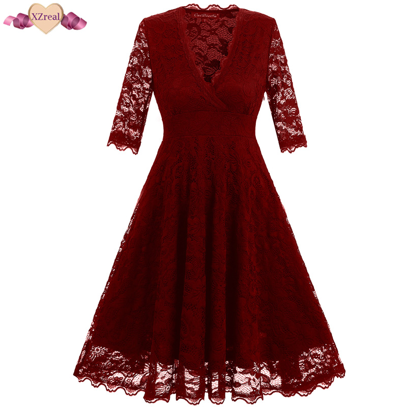 New Lace Vintage Dress Women Summer Retro Rockabilly Evening Party Dresses Floral Crochet V Neck Swing Tunic Dress Z3D20