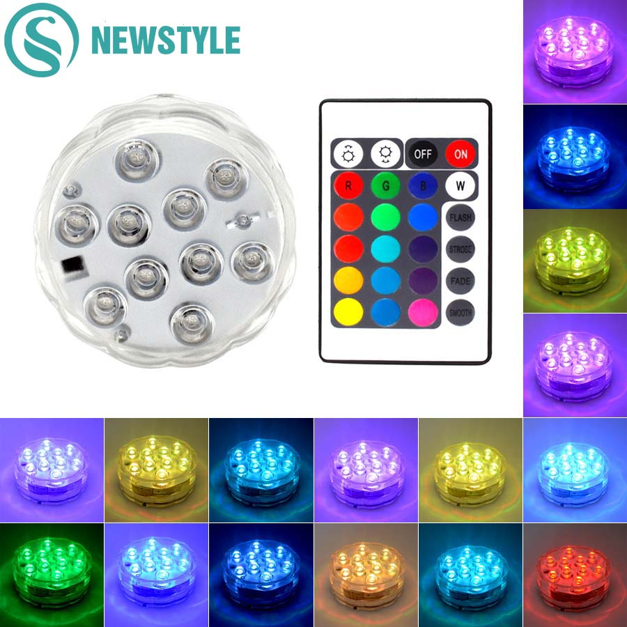Waterproof LED Underwater Light RGB Swimming Pool Light Submersible Fish Tank Vase Light for Pool Decoration