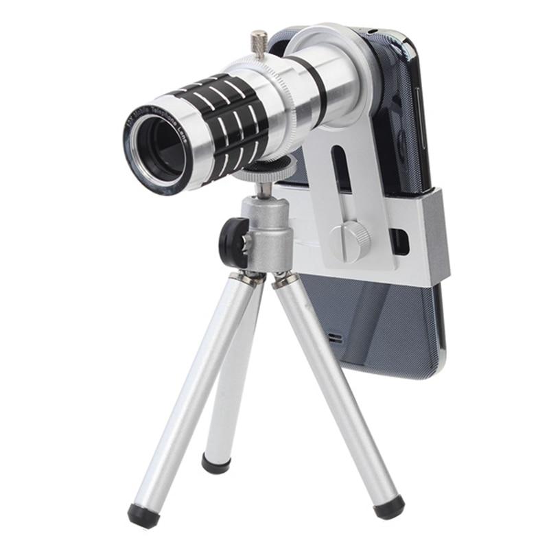 imágenes para Portable Universal 12X Lente Zoom Trípode de Cámara Del Telescopio Con Lente de La Cámara Soporte Ajustable Mini Trípode Para Teléfonos Móviles Inteligentes
