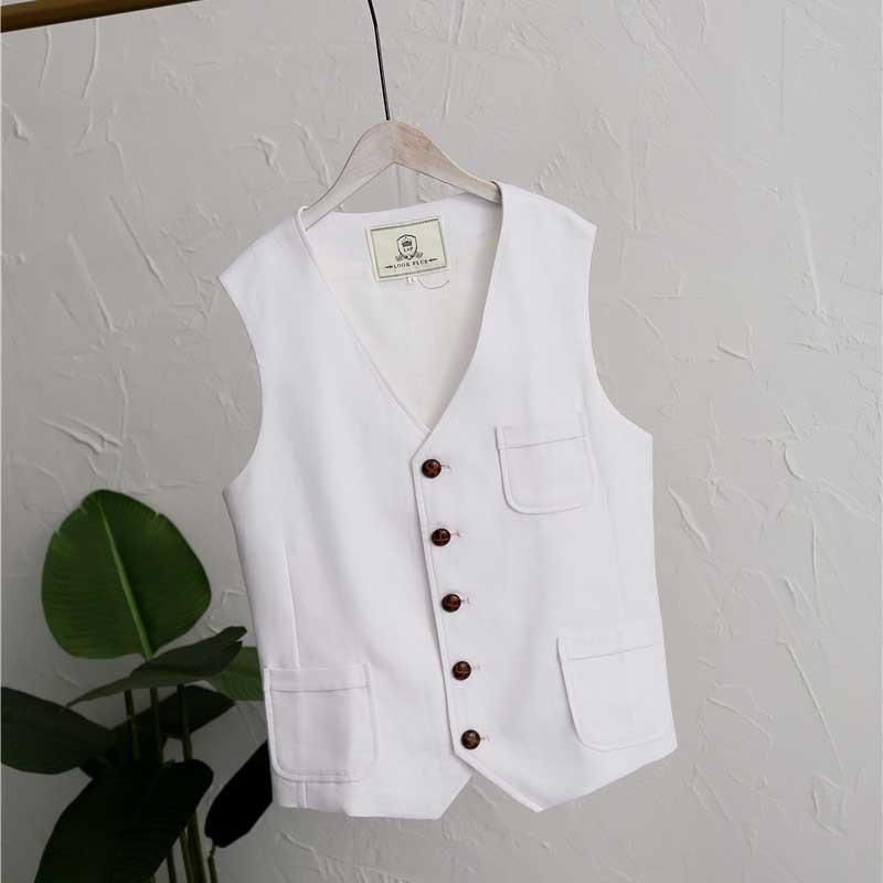 Plus Size Suit Vest Linen Cotton Men Casual Vest Retro Waistcoat Front Pocket Blazer Vest Man Clothing