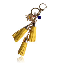Fashion casual PU leather tassels women keychain bag pendant  Sigma Gamma Rho Sorority tassel car keychain ring holder  jewelry