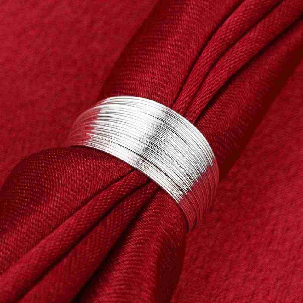 คุณภาพสูง 925 เงินปรับขนาดได้แหวนแฟชั่นสายแหวนเงินสำหรับสตรีและผู้ชายของขวัญนิ้วมือแหวน