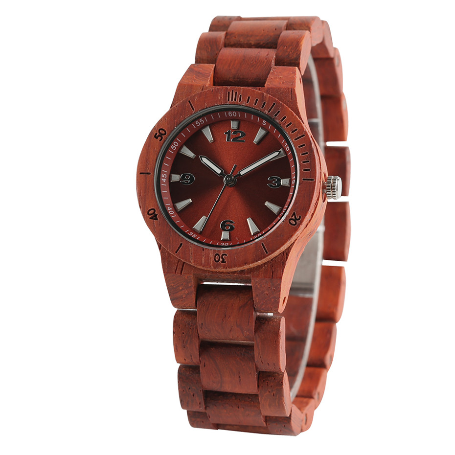 Elegant Small Diall Lady Wrist Watch Red/Black Full Wooden Women's Bracelet Watches Wood Band Ladies Bangle Clock Gifts 2019