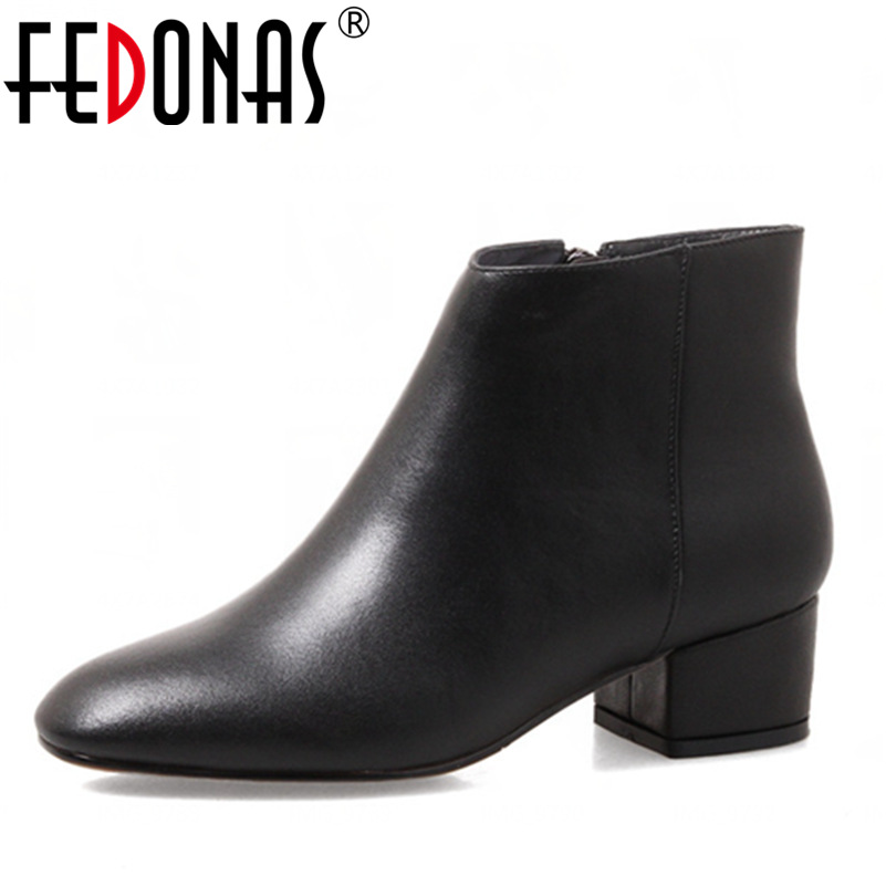 FEDONAS Top Quality Women Genuine Leather Ankle Winter Warm Snow Boots Suede Thick High Heeled Motorcycle Boots Shoes Woman fedonas top quality brand ankle boots super high heels buckles shoes woman winter warm genuine leather boots women martin boots