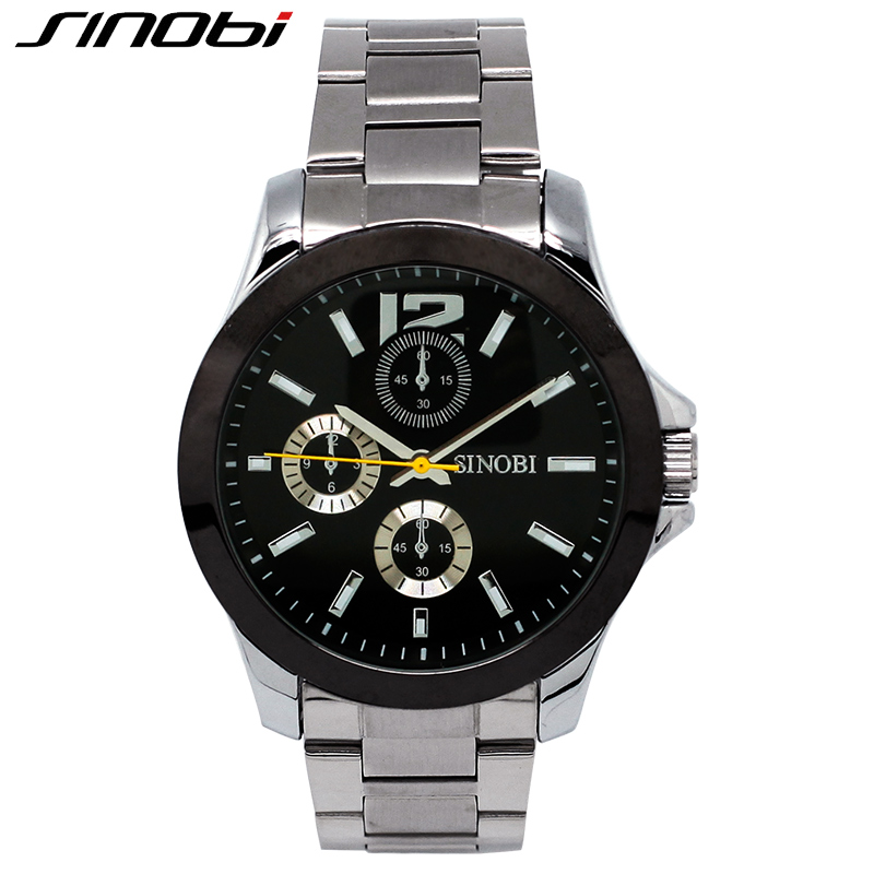 SINOBI Fashion Full Alloy Brand Watch For Man And Woman Wholesale Price Top Mens Watches New Arrival Couples Quartz Wristwatch 2016 hot sell sinobi brand leather strap watch for mens man fashion style quartz military waterproof wristwatch wholesale