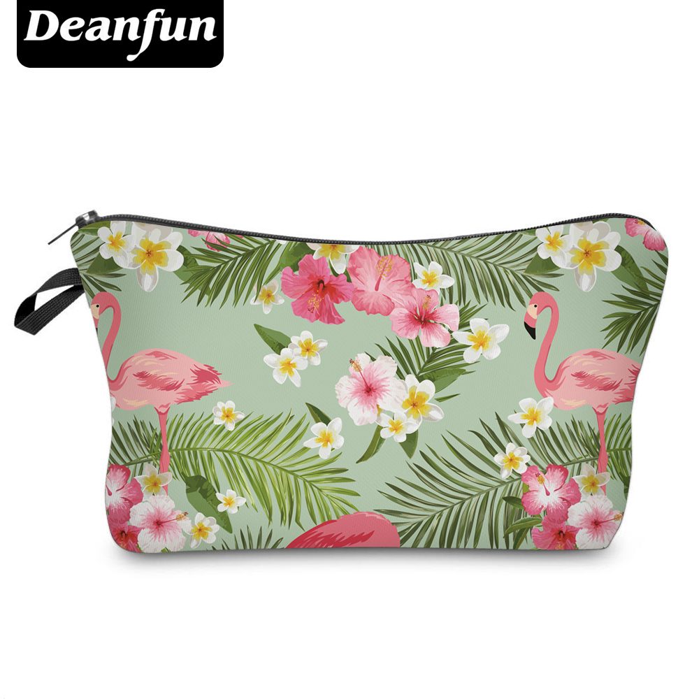 Deanfun 3D Printed Cosmetic Bags Flamingo And Flower Necessaries For Travelling Storage Makeup  51055