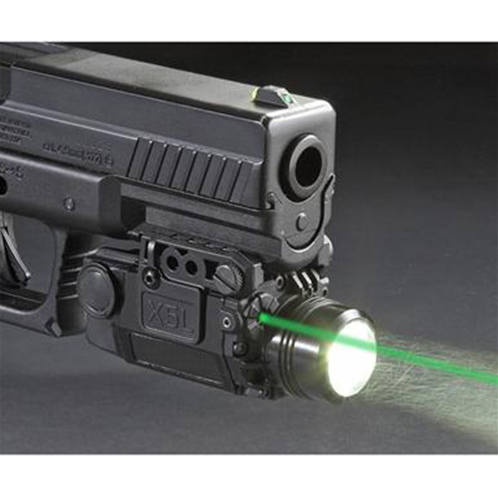 2in1 Tactical X5L LED Flashlight Combo Green Laser Sight Universal Pistol Gun Mira Laser Pistola For Airsoft Glock 17 19 Series 2in1 tactical led flashlight light red laser sight weapon light for shotgun for glock 17 19 22 20 23 31 37