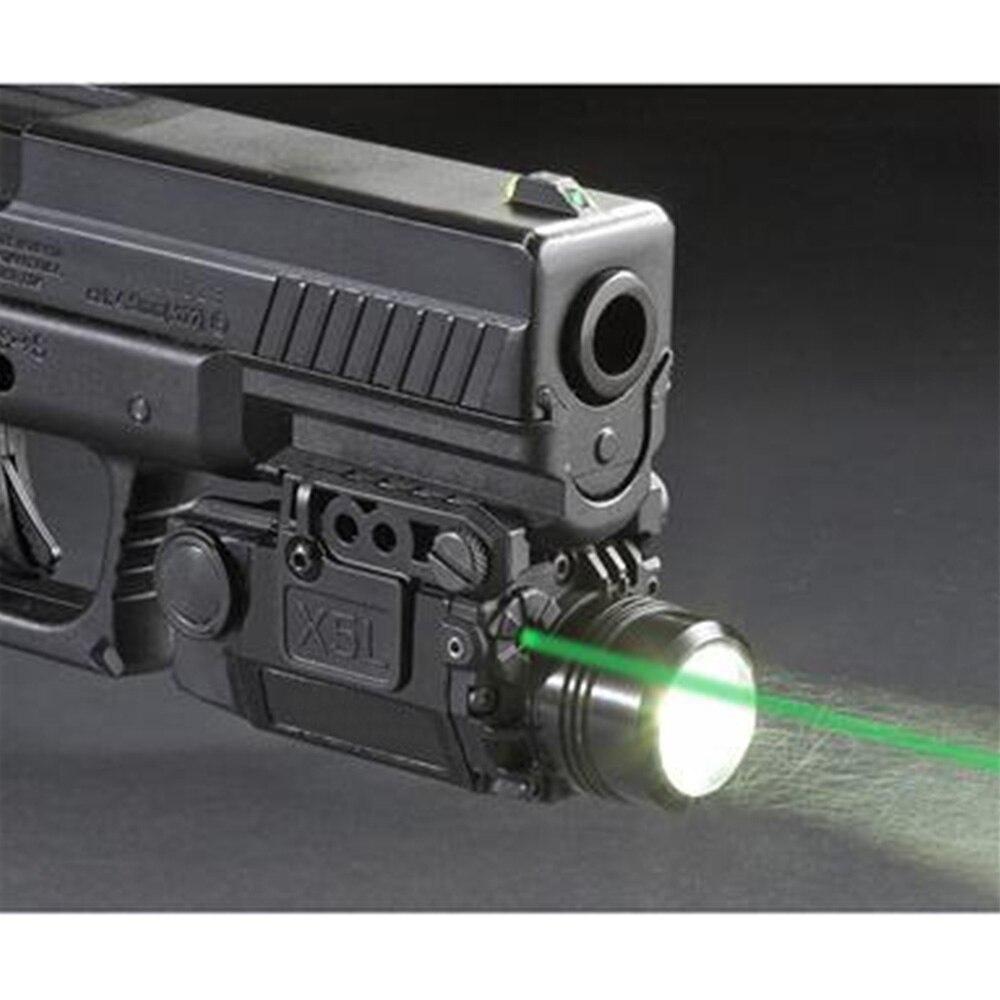 2in1 Tactique X5L LED lampe de Poche Combo Vert Visée Laser Universal Pistol Gun Mira Laser Pistola Pour Airsoft Glock 17 19 série