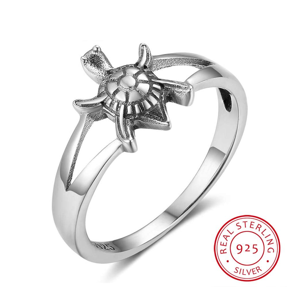 925 plata esterlina Anillos para las mujeres Linda forma de tortuga moda partido Anillos plata regalo de la joyería de las mujeres 2017 Nuevo (ri102834)