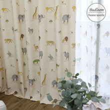 New animals flax texture curtains for kids room camel ostrich tiger elephant lovely curtains for baby