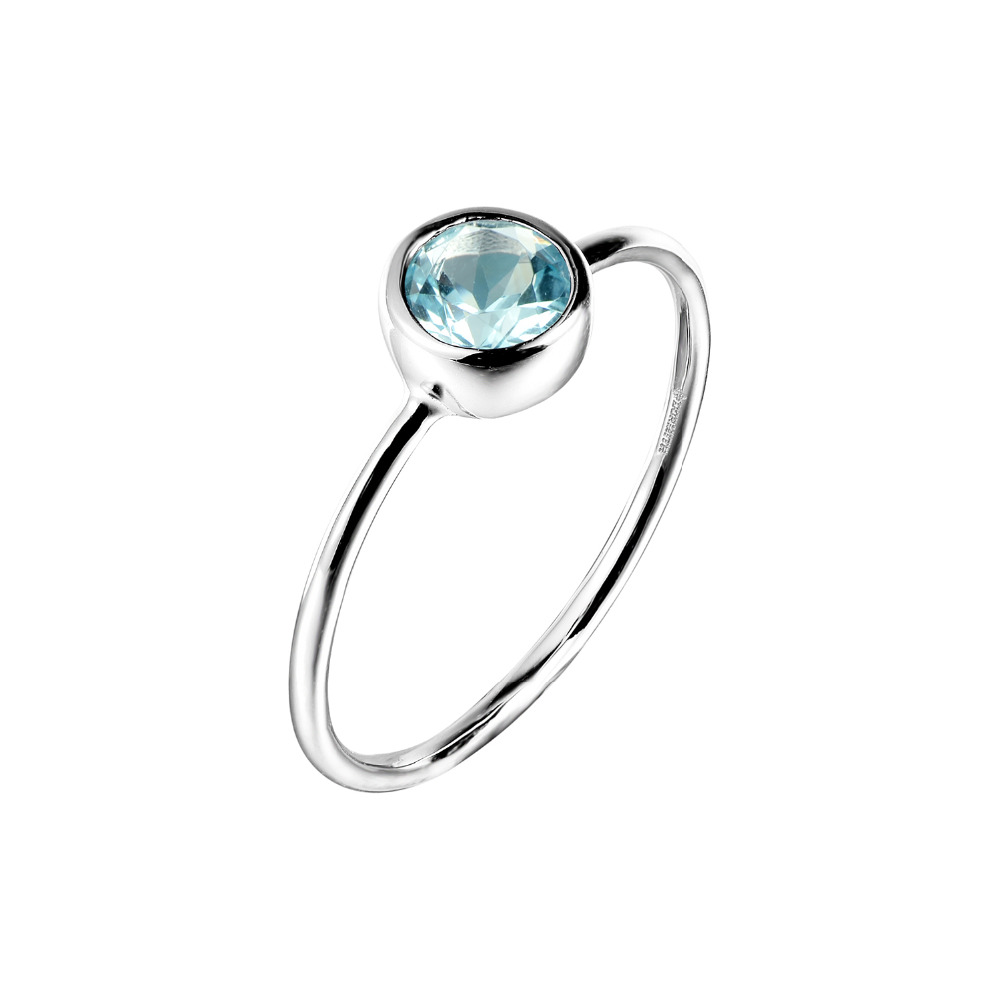 DORMITH Real 925 Sterling Silver Ring Natural  Blue Topaz Rings Gemstone Rings For Women Jewelry Rings