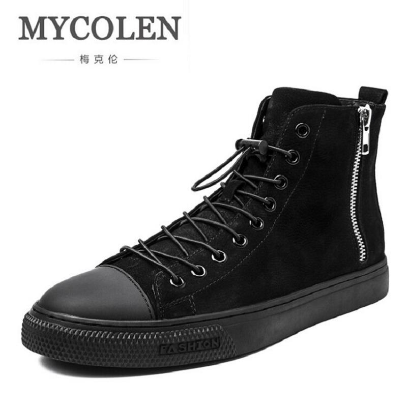MYCOLEN 2017 Genuine Leather High-Top Cowhide Shoes Men Leather Shoes For Men Casual Boots Shoes Winter Men Ankle Boots
