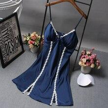 2017 New Women Nightgowns Silk Night Dress Sexy Spaghetti Strap V-Neck Slim Casual Home Dress Night Shirt Sleepwear Nightwear
