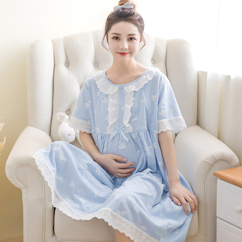 Short Sleeve Pregnancy Maternity Dresses Summer Thick Nursing Pajamas Clothing Breastfeeding Dresses for Pregnant Women Short Sleeve Pregnancy Maternity Dresses Summer Thick Nursing Pajamas Clothing Breastfeeding Dresses for Pregnant Women