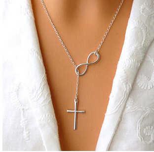 Hurtownia biżuteria na przyjęcie ślubne nieskończoność urok krzyż naszyjnik zemsta rysunek 8 wieczność naszyjnik nieskończoności